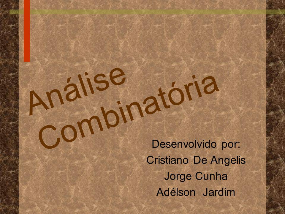 A n á l i s e C o m b i n a t ó r i a Desenvolvido por: Cristiano De Angelis Jorge Cunha Adélson Jardim
