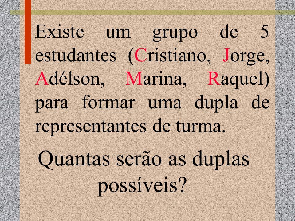 Existe um grupo de 5 estudantes (Cristiano, Jorge, Adélson, Marina, Raquel) para formar uma dupla de representantes de turma. Quantas serão as duplas