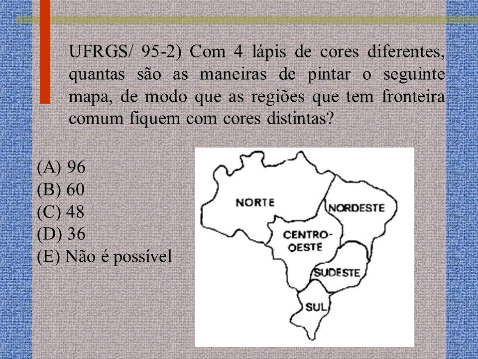 UFRGS/ 95-2) Com 4 lápis de cores diferentes, quantas são as maneiras de pintar o seguinte mapa, de modo que as regiões que tem fronteira comum fiquem