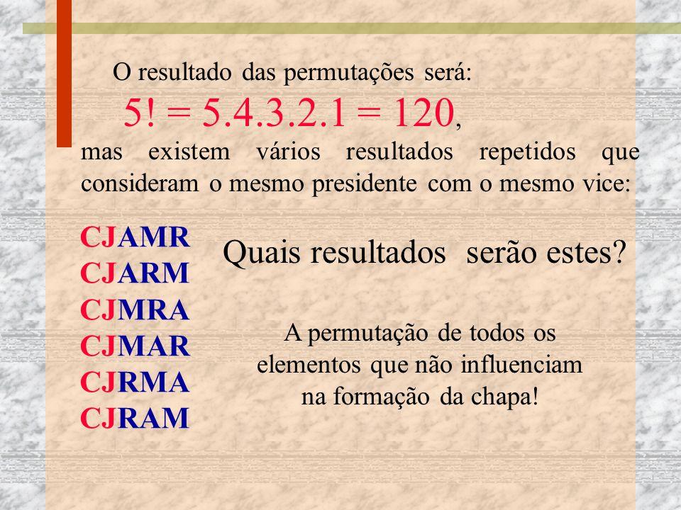 O resultado das permutações será: 5! = 5.4.3.2.1 = 120, mas existem vários resultados repetidos que consideram o mesmo presidente com o mesmo vice: CJ