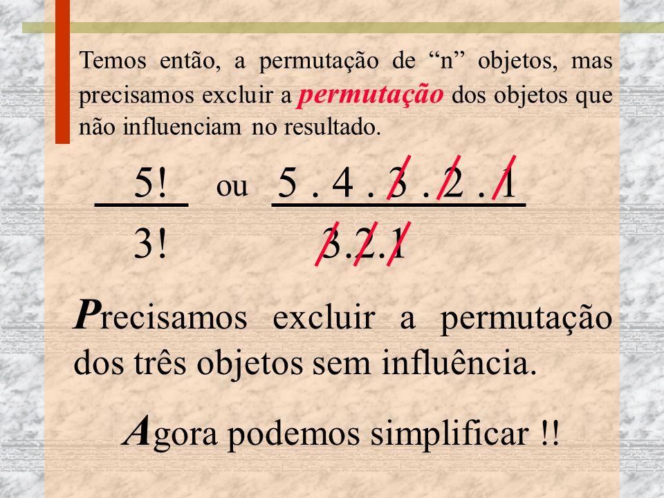 Temos então, a permutação de n objetos, mas precisamos excluir a permutação dos objetos que não influenciam no resultado. 5! ou 5. 4. 3. 2. 1 P recisa