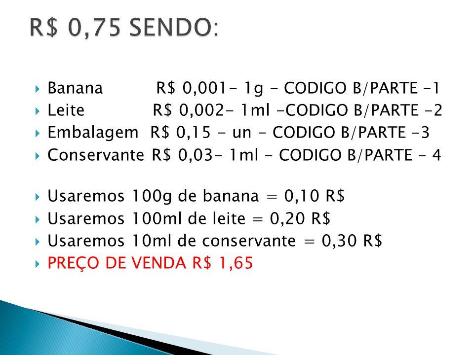 Banana R$ 0,001- 1g - CODIGO B/PARTE -1 Leite R$ 0,002- 1ml - CODIGO B/PARTE -2 Embalagem R$ 0,15 - un - CODIGO B/PARTE -3 Conservante R$ 0,03- 1ml - CODIGO B/PARTE - 4 Usaremos 100g de banana = 0,10 R$ Usaremos 100ml de leite = 0,20 R$ Usaremos 10ml de conservante = 0,30 R$ PREÇO DE VENDA R$ 1,65