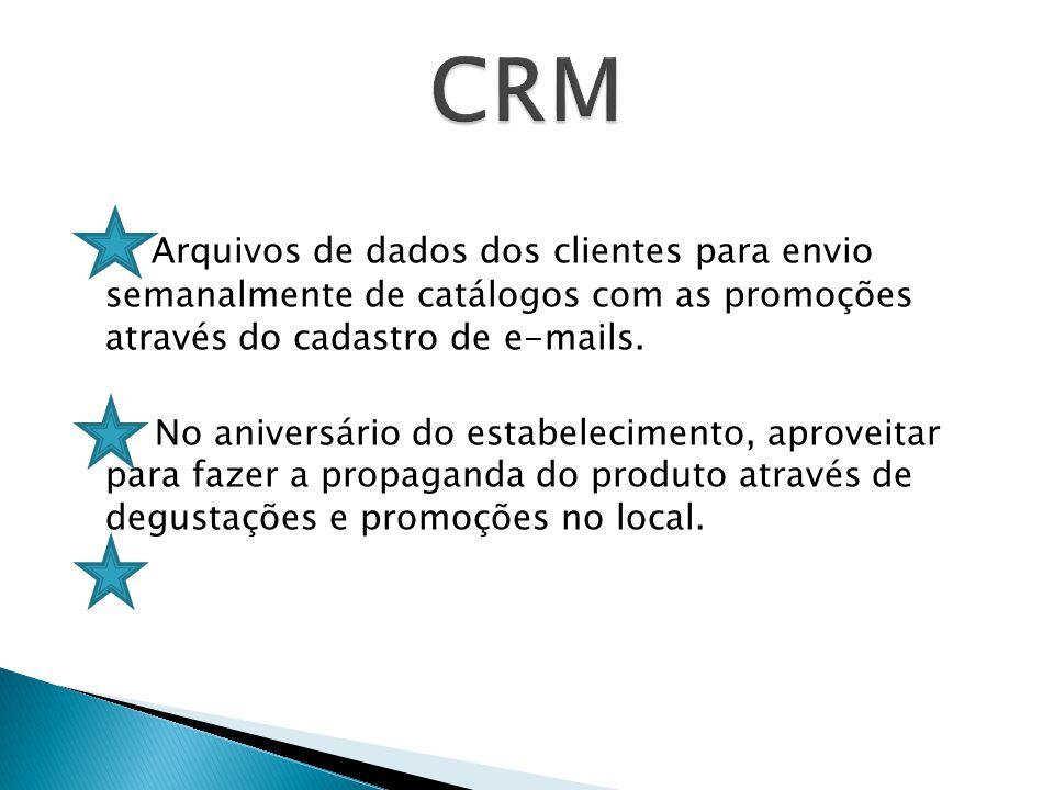 Arquivos de dados dos clientes para envio semanalmente de catálogos com as promoções através do cadastro de e-mails.