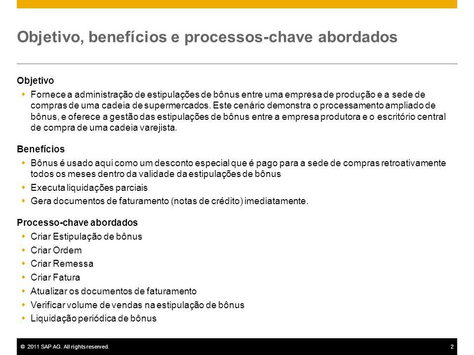 ©2011 SAP AG. All rights reserved.2 Objetivo, benefícios e processos-chave abordados Objetivo Fornece a administração de estipulações de bônus entre u