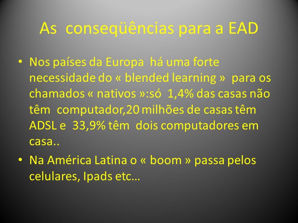 As conseqüências para a EAD Nos países da Europa há uma forte necessidade do « blended learning » para os chamados « nativos »:só 1,4% das casas não têm computador,20 milhões de casas têm ADSL e 33,9% têm dois computadores em casa..