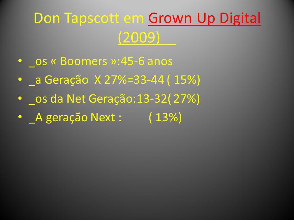 Don Tapscott em Grown Up Digital (2009) _os « Boomers »:45-6 anos _a Geração X 27%=33-44 ( 15%) _os da Net Geração:13-32( 27%) _A geração Next : ( 13%