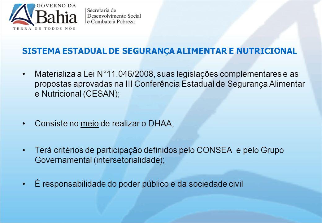 SISTEMA ESTADUAL DE SEGURANÇA ALIMENTAR E NUTRICIONAL Materializa a Lei N°11.046/2008, suas legislações complementares e as propostas aprovadas na III Conferência Estadual de Segurança Alimentar e Nutricional (CESAN); Consiste no meio de realizar o DHAA; Terá critérios de participação definidos pelo CONSEA e pelo Grupo Governamental (intersetorialidade); É responsabilidade do poder público e da sociedade civil