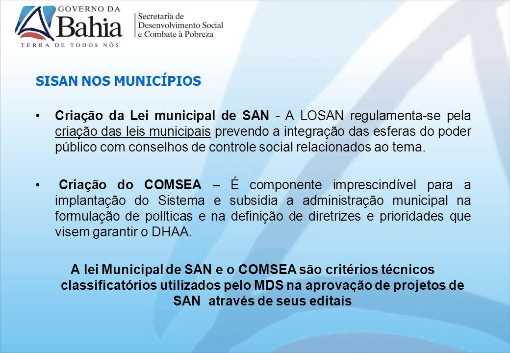 SISAN NOS MUNICÍPIOS Criação da Lei municipal de SAN - A LOSAN regulamenta-se pela criação das leis municipais prevendo a integração das esferas do poder público com conselhos de controle social relacionados ao tema.