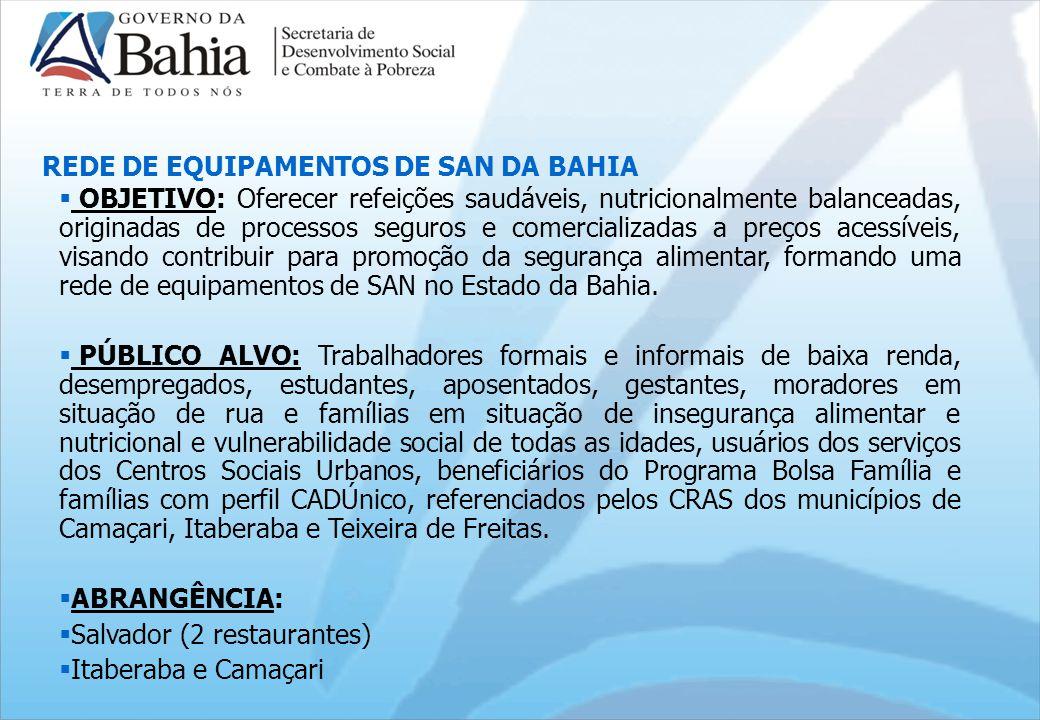 OBJETIVO: Oferecer refeições saudáveis, nutricionalmente balanceadas, originadas de processos seguros e comercializadas a preços acessíveis, visando contribuir para promoção da segurança alimentar, formando uma rede de equipamentos de SAN no Estado da Bahia.