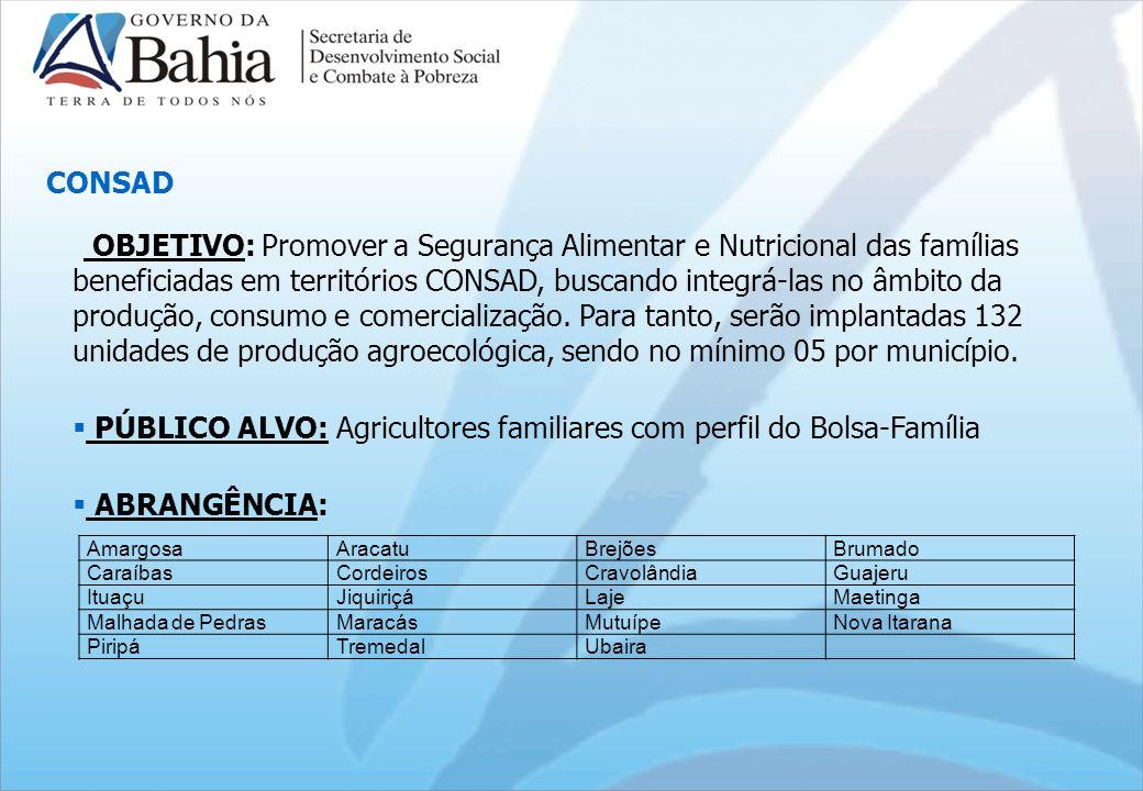 OBJETIVO: Promover a Segurança Alimentar e Nutricional das famílias beneficiadas em territórios CONSAD, buscando integrá-las no âmbito da produção, consumo e comercialização.