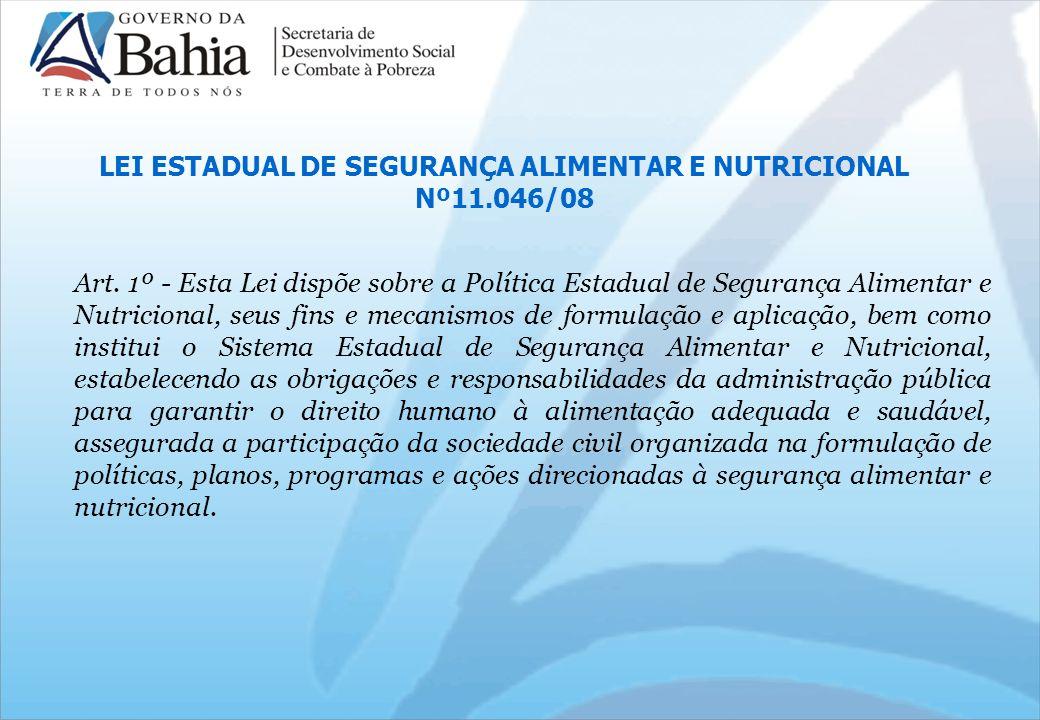 LEI ESTADUAL DE SEGURANÇA ALIMENTAR E NUTRICIONAL Nº11.046/08 Art.