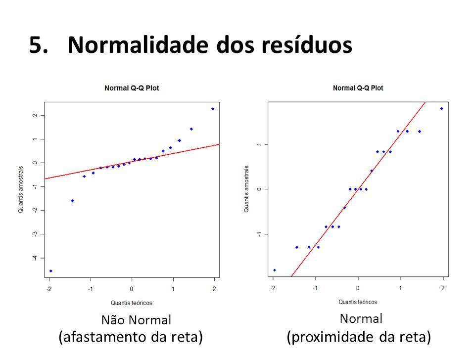 5.Normalidade dos resíduos Não Normal Normal (afastamento da reta)(proximidade da reta)