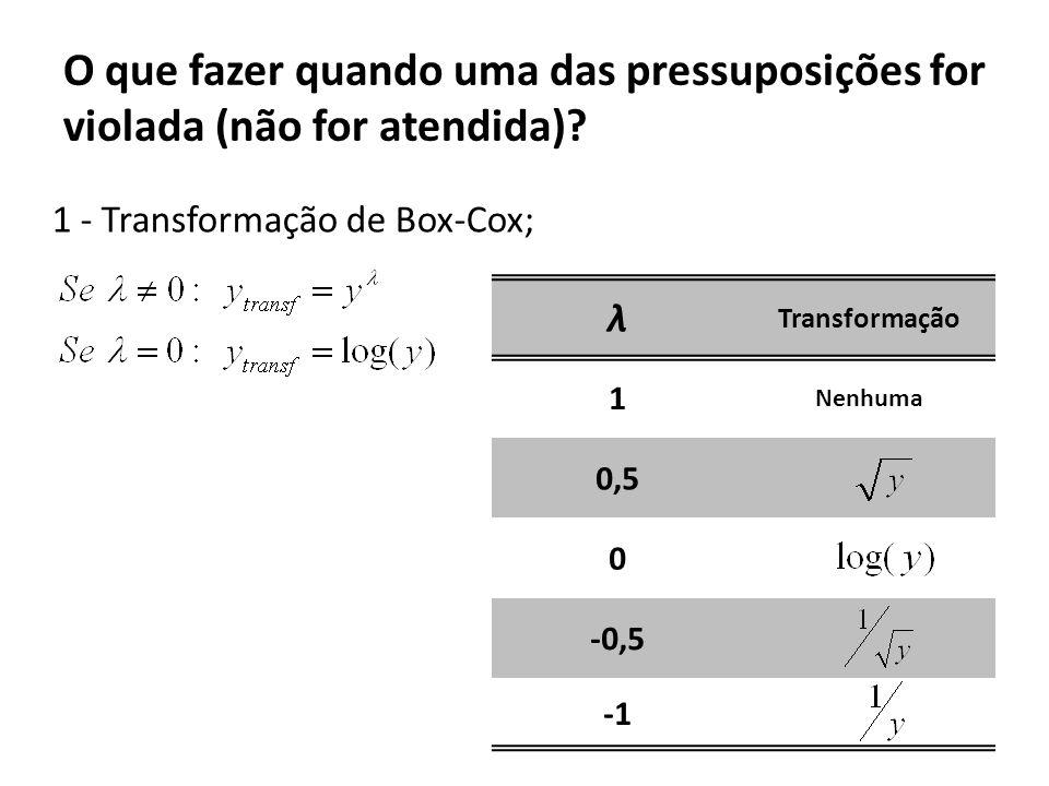 O que fazer quando uma das pressuposições for violada (não for atendida)? 1 - Transformação de Box-Cox; λ Transformação 1 Nenhuma 0,5 0 -0,5