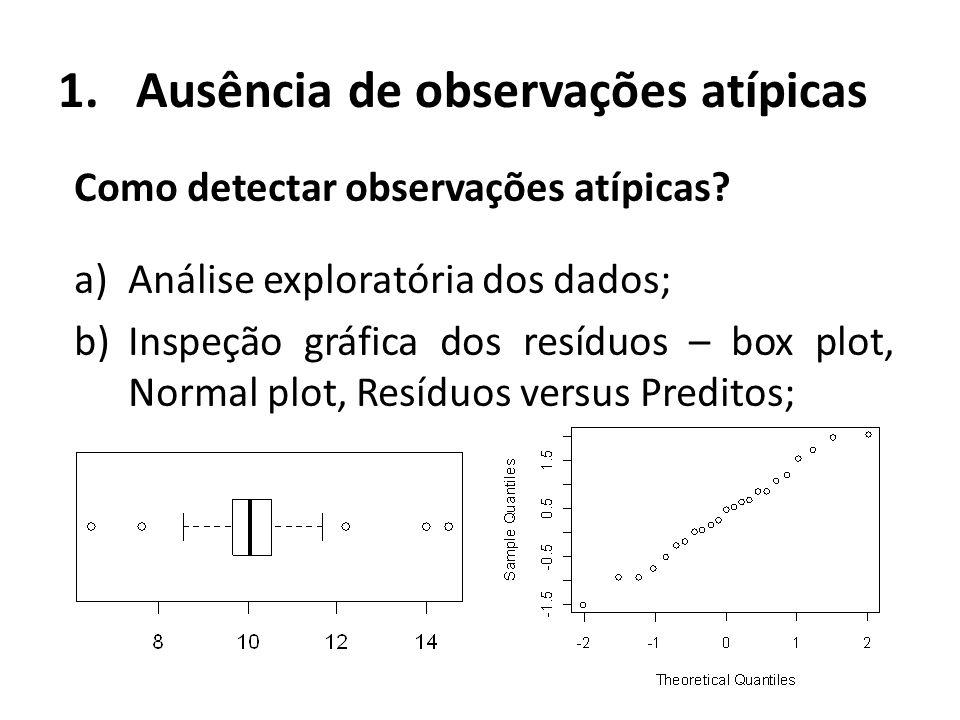 1.Ausência de observações atípicas Como detectar observações atípicas? a)Análise exploratória dos dados; b)Inspeção gráfica dos resíduos – box plot, N