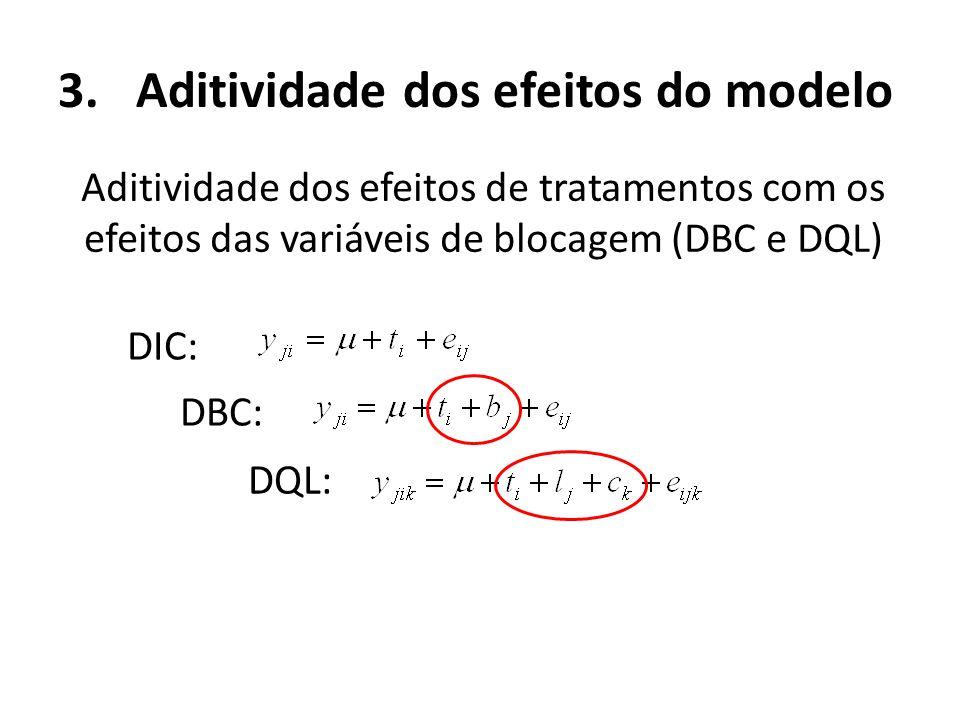 3.Aditividade dos efeitos do modelo Aditividade dos efeitos de tratamentos com os efeitos das variáveis de blocagem (DBC e DQL) DIC: DBC: DQL: