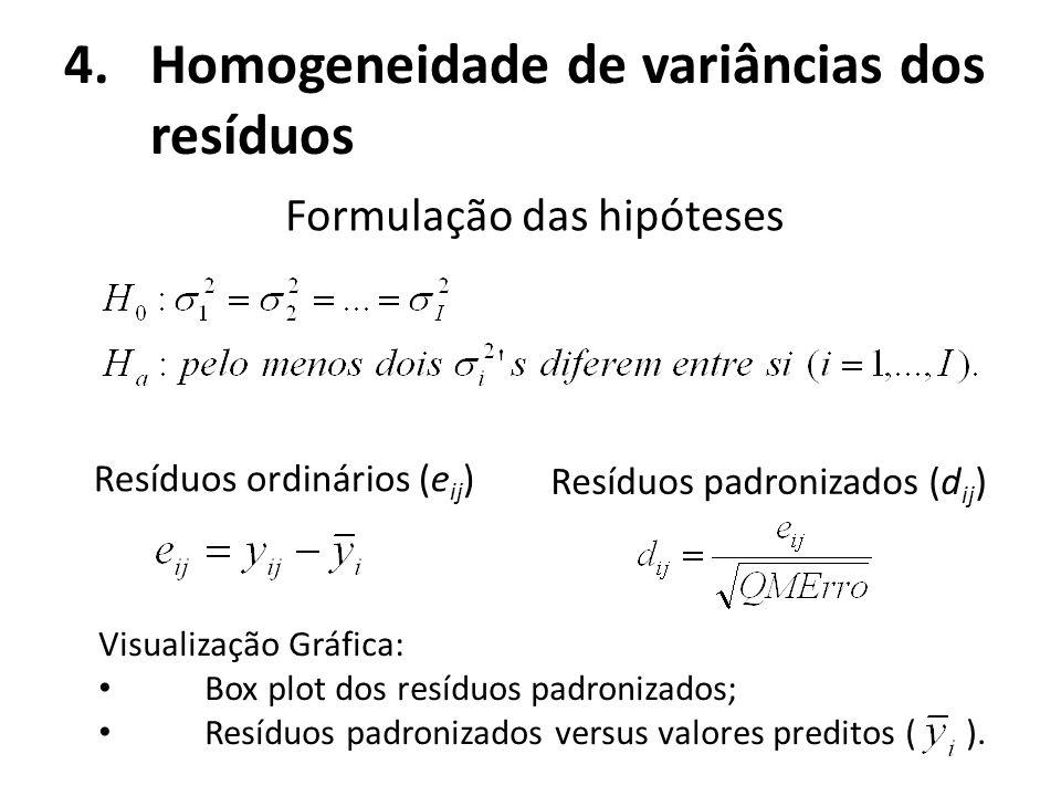 4.Homogeneidade de variâncias dos resíduos Formulação das hipóteses Resíduos padronizados (d ij ) Resíduos ordinários (e ij ) Visualização Gráfica: Bo