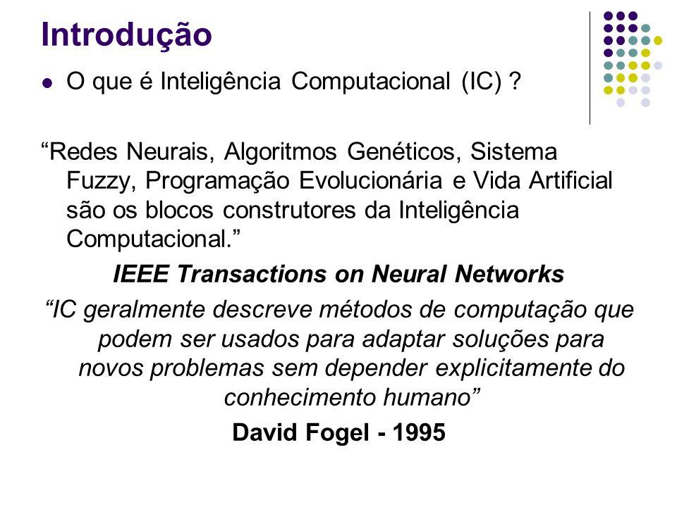 Introdução O que é Inteligência Computacional (IC) ? Técnicas e sistemas computacionais que imitam aspectos humanos, tais como: percepção, raciocínio,