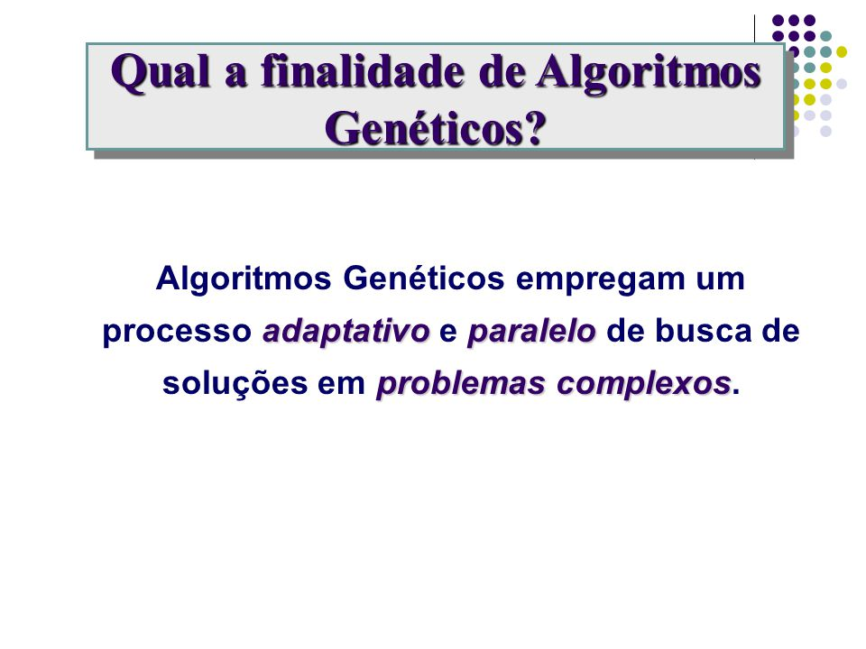 Indivíduo Cromossoma Reprodução Sexual Mutação População Gerações Meio Ambiente Solução Representação Operador Cruzamento Operador Mutação Conjunto de Soluções Ciclos Problema Analogia com a Natureza Evolução Natural Alg.