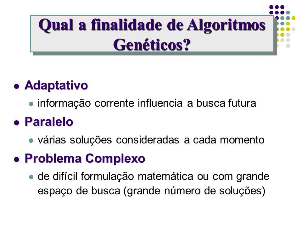 adaptativoparalelo problemascomplexos Algoritmos Genéticos empregam um processo adaptativo e paralelo de busca de soluções em problemas complexos. Qua