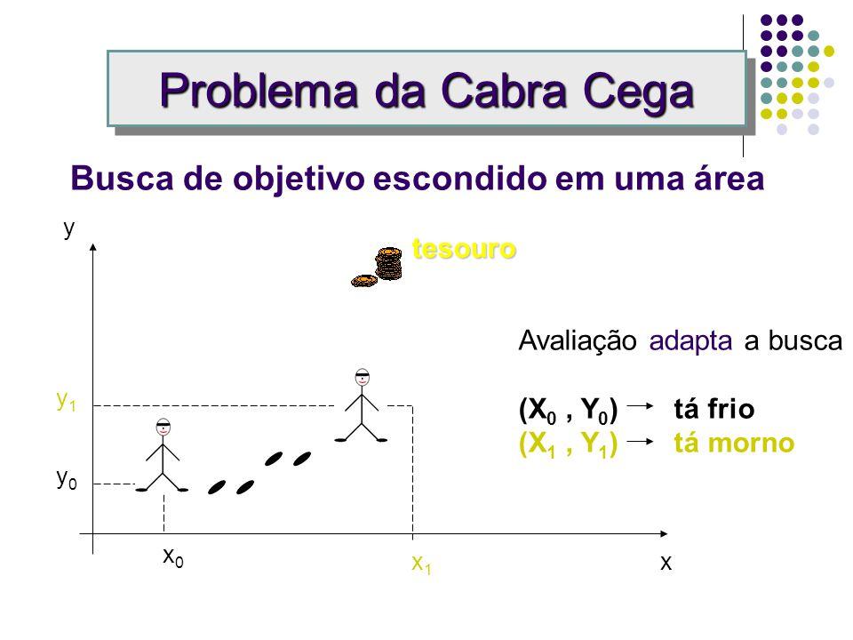 Problema da Cabra Cega Busca de objetivo escondido em uma área y0y0 Avaliação adapta a busca (X 0, Y 0 ) tá frio x0x0 tesouro x y