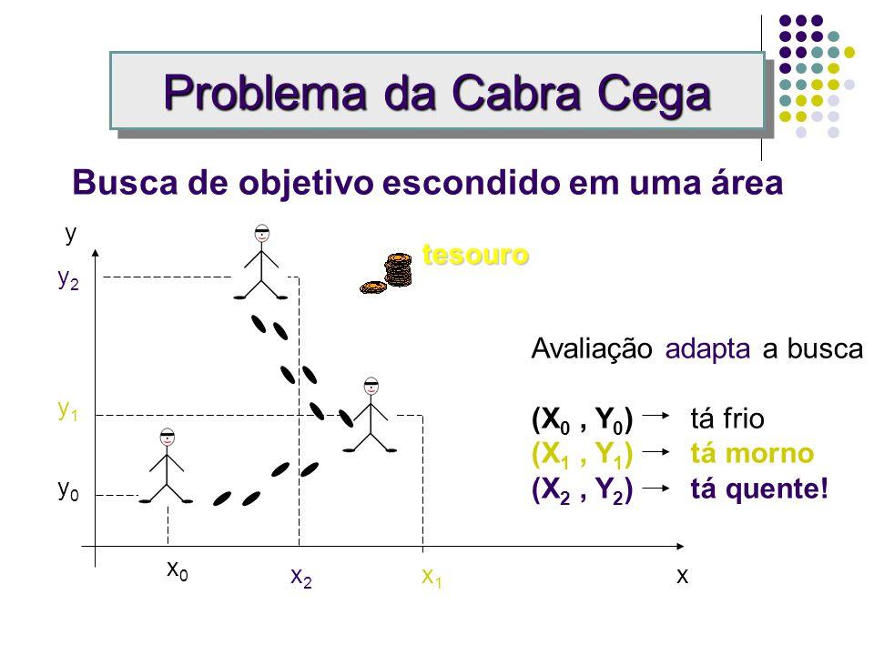 Problema da Cabra Cega Busca de objetivo escondido em uma área x1x1 y0y0 y1y1 Avaliação adapta a busca (X 0, Y 0 ) tá frio (X 1, Y 1 ) tá morno x0x0 tesouro x y