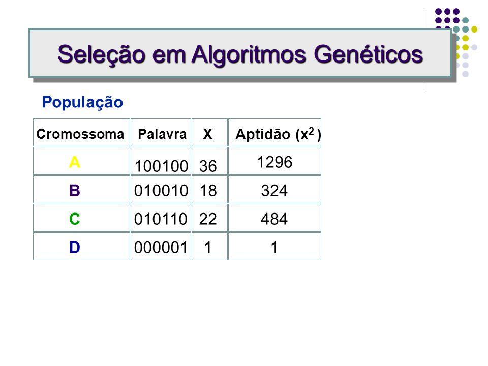 Problema: Achar o valor máximo para f (x) = x 2, x no limite de 0 a 63. Representação da Solução: Palavras binárias representando sucessivas potências