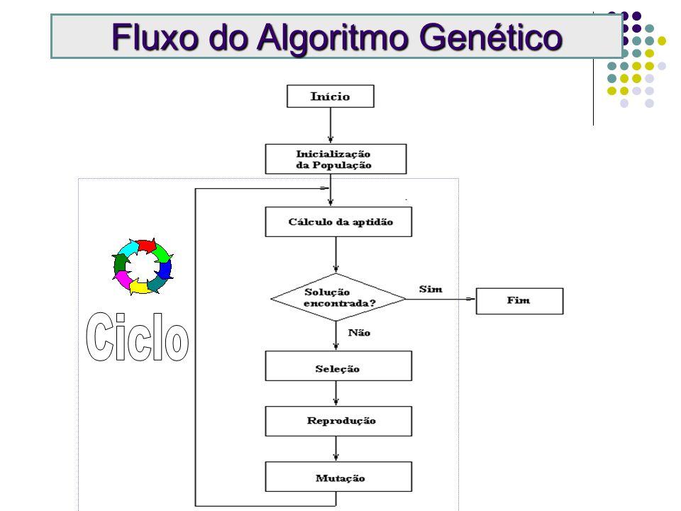 Mutação Crossover 1 0 1 0 1 1 1 0 1 0 0 0 0 0 1 1 0 0 0 0 1 1 1 1 Operadores de Algoritmos Genéticos PaisFilhos Antes Depois 0 0 1 1 1 1 0 0 0 1 1 1
