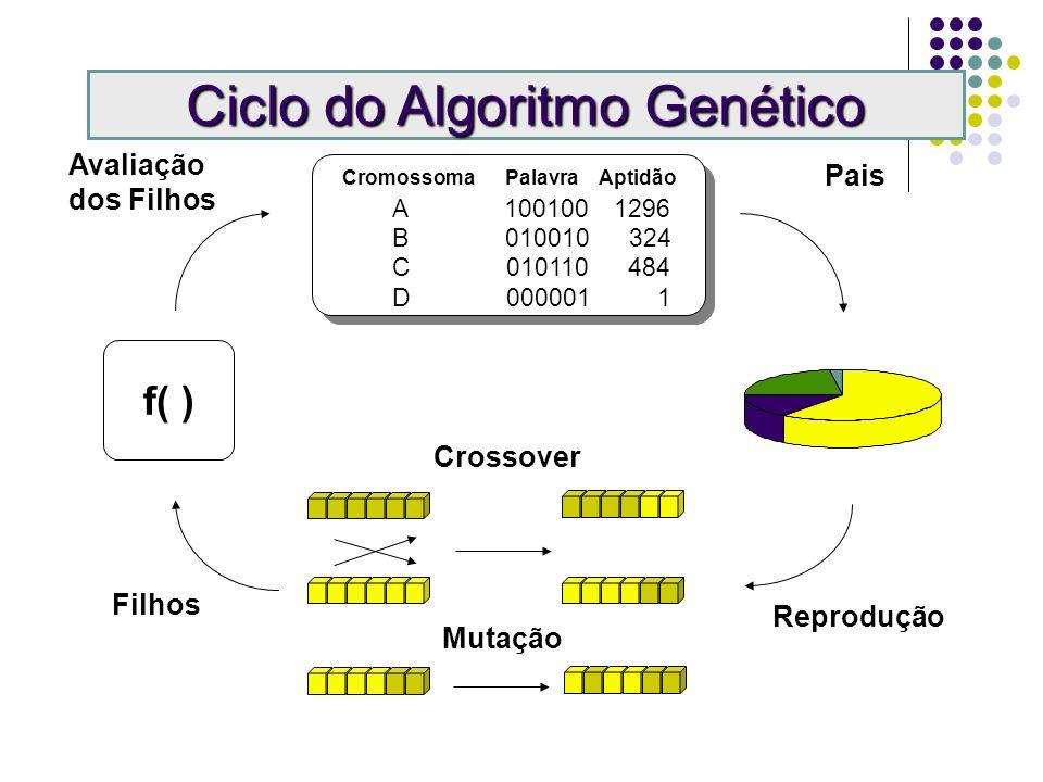 Cromossoma Palavra Aptidão A 100100 1296 B 010010 324 C 010110 484 D 000001 1 Pais Reprodução Crossover Mutação Ciclo do Algoritmo Genético