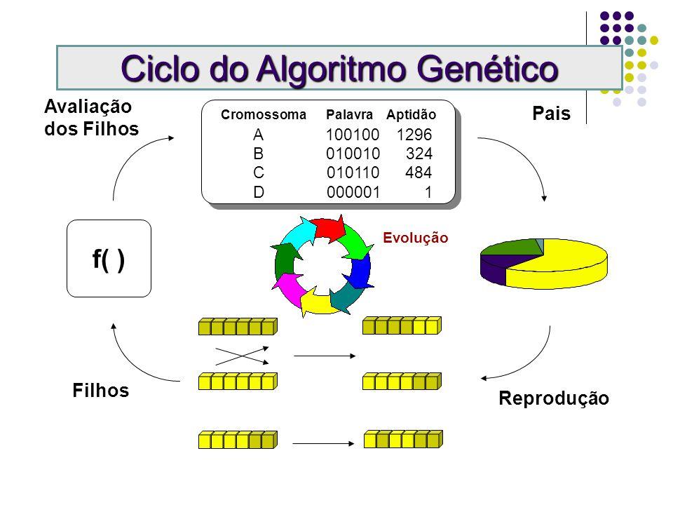 Cromossoma Palavra Aptidão A 100100 1296 B 010010 324 C 010110 484 D 000001 1 f( ) Pais Reprodução Filhos Avaliação dos Filhos Crossover Mutação Ciclo do Algoritmo Genético