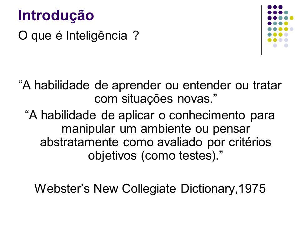 Introdução O que é Inteligência ? capacidade de aprender, apreender e interpretar Dicionário Aurélio