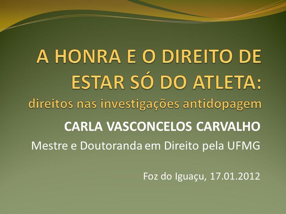 CARLA VASCONCELOS CARVALHO Mestre e Doutoranda em Direito pela UFMG Foz do Iguaçu, 17.01.2012
