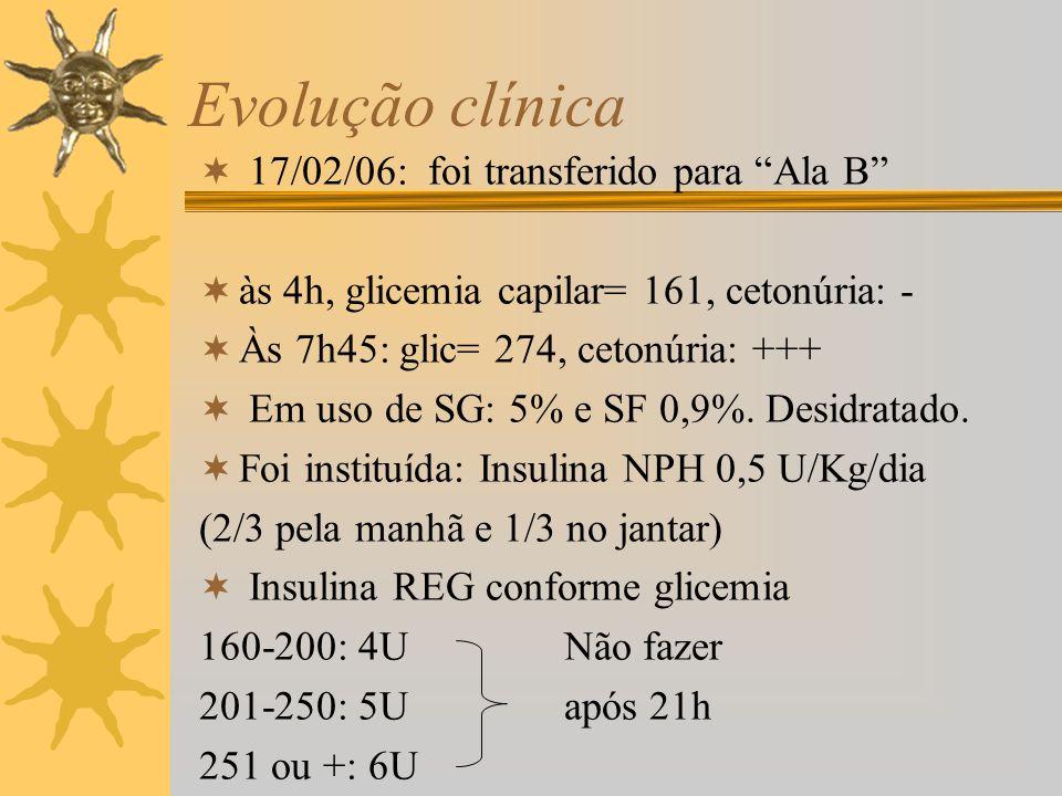 Evolução clínica 17/02/06: foi transferido para Ala B às 4h, glicemia capilar= 161, cetonúria: - Às 7h45: glic= 274, cetonúria: +++ Em uso de SG: 5% e