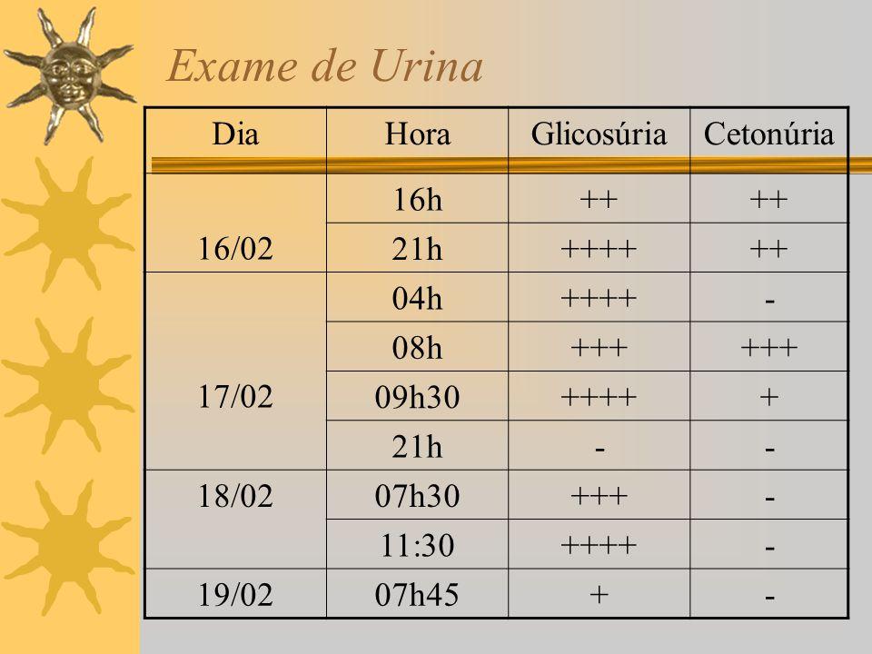Exame de Urina DiaHoraGlicosúriaCetonúria 16/02 16h++ 21h++++++ 17/02 04h++++- 08h+++ 09h30+++++ 21h-- 18/0207h30+++- 11:30++++- 19/0207h45+-