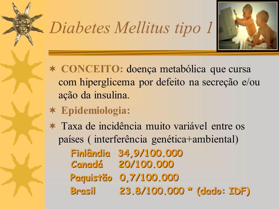 Diabetes Mellitus tipo 1 CONCEITO: doença metabólica que cursa com hiperglicema por defeito na secreção e/ou ação da insulina. Epidemiologia: Taxa de