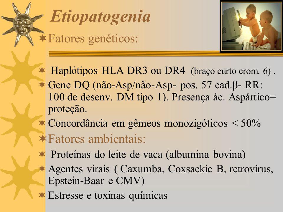 Etiopatogenia Fatores genéticos: Haplótipos HLA DR3 ou DR4 (braço curto crom. 6). Gene DQ (não-Asp/não-Asp- pos. 57 cad.β- RR: 100 de desenv. DM tipo