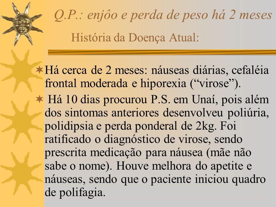 Q.P.: enjôo e perda de peso há 2 meses História da Doença Atual: Há cerca de 2 meses: náuseas diárias, cefaléia frontal moderada e hiporexia (virose).