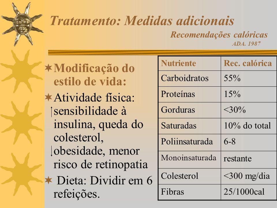 Tratamento: Medidas adicionais Recomendações calóricas ADA. 1987 Modificação do estilo de vida: Atividade física: sensibilidade à insulina, queda do c