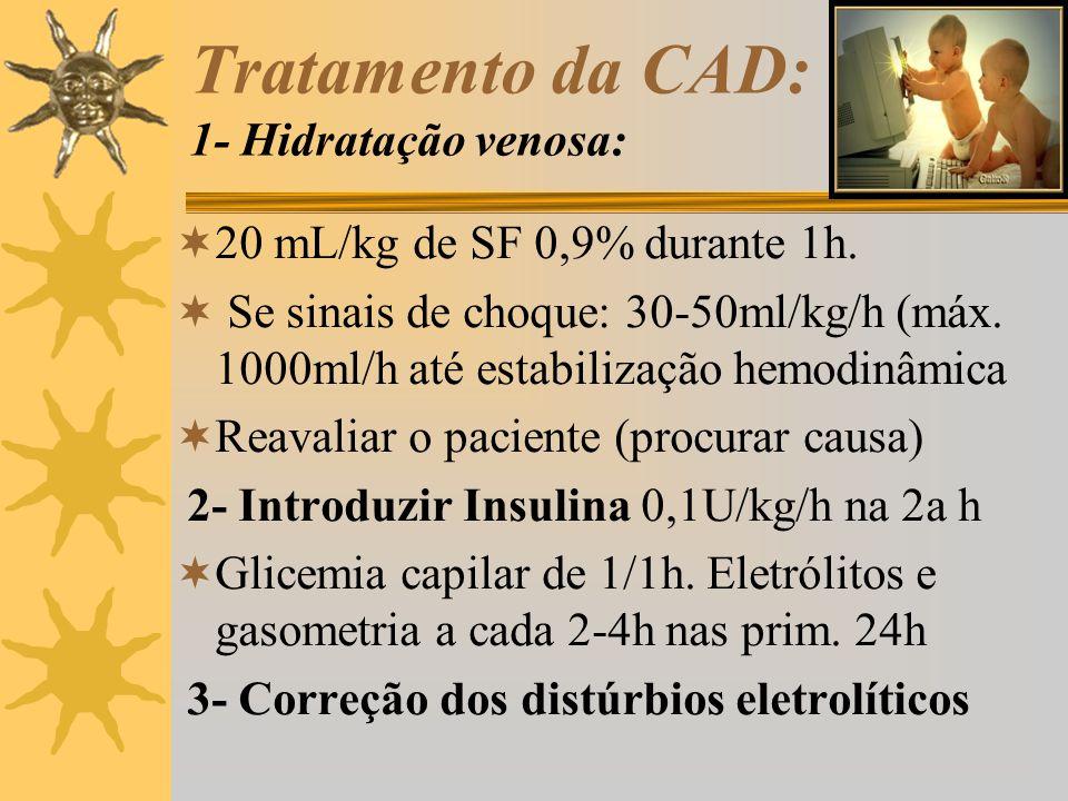 Tratamento da CAD: 1- Hidratação venosa: 20 mL/kg de SF 0,9% durante 1h. Se sinais de choque: 30-50ml/kg/h (máx. 1000ml/h até estabilização hemodinâmi