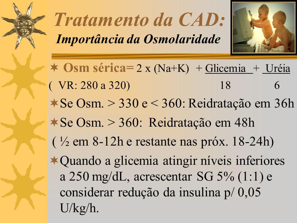 Tratamento da CAD: Importância da Osmolaridade Osm sérica= 2 x (Na+K) + Glicemia + Uréia ( VR: 280 a 320) 18 6 Se Osm. > 330 e < 360: Reidratação em 3