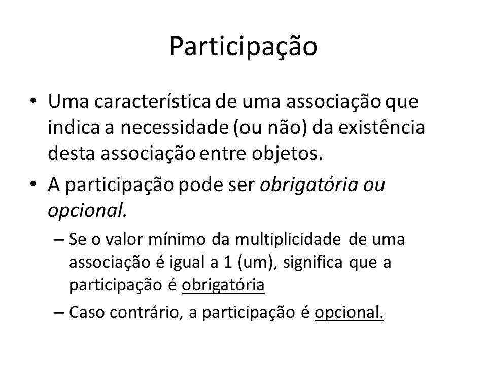 Participação Uma característica de uma associação que indica a necessidade (ou não) da existência desta associação entre objetos. A participação pode