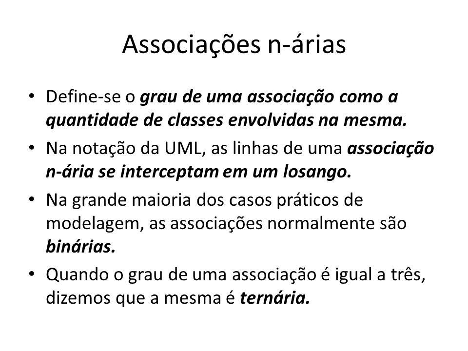 Associações n-árias Define-se o grau de uma associação como a quantidade de classes envolvidas na mesma. Na notação da UML, as linhas de uma associaçã