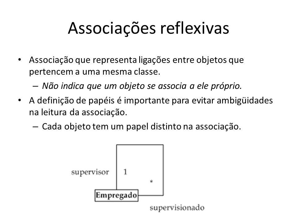 Associações reflexivas Associação que representa ligações entre objetos que pertencem a uma mesma classe. – Não indica que um objeto se associa a ele