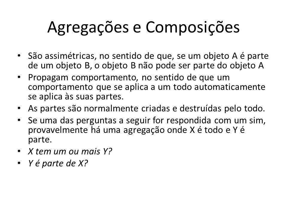 Agregações e Composições São assimétricas, no sentido de que, se um objeto A é parte de um objeto B, o objeto B não pode ser parte do objeto A Propaga
