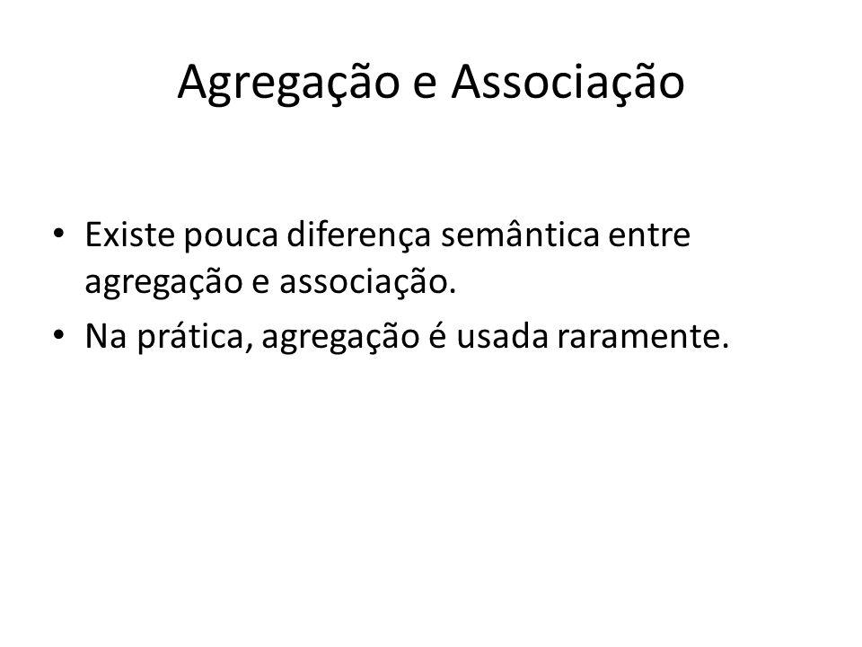 Agregação e Associação Existe pouca diferença semântica entre agregação e associação. Na prática, agregação é usada raramente.