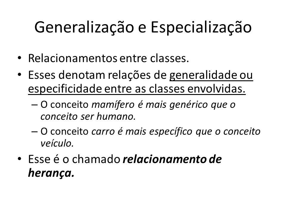 Generalização e Especialização Relacionamentos entre classes. Esses denotam relações de generalidade ou especificidade entre as classes envolvidas. –