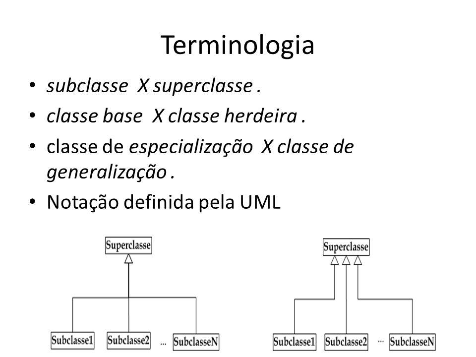 Terminologia subclasse X superclasse. classe base X classe herdeira. classe de especialização X classe de generalização. Notação definida pela UML