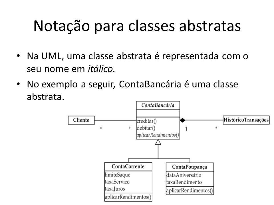 Notação para classes abstratas Na UML, uma classe abstrata é representada com o seu nome em itálico. No exemplo a seguir, ContaBancária é uma classe a