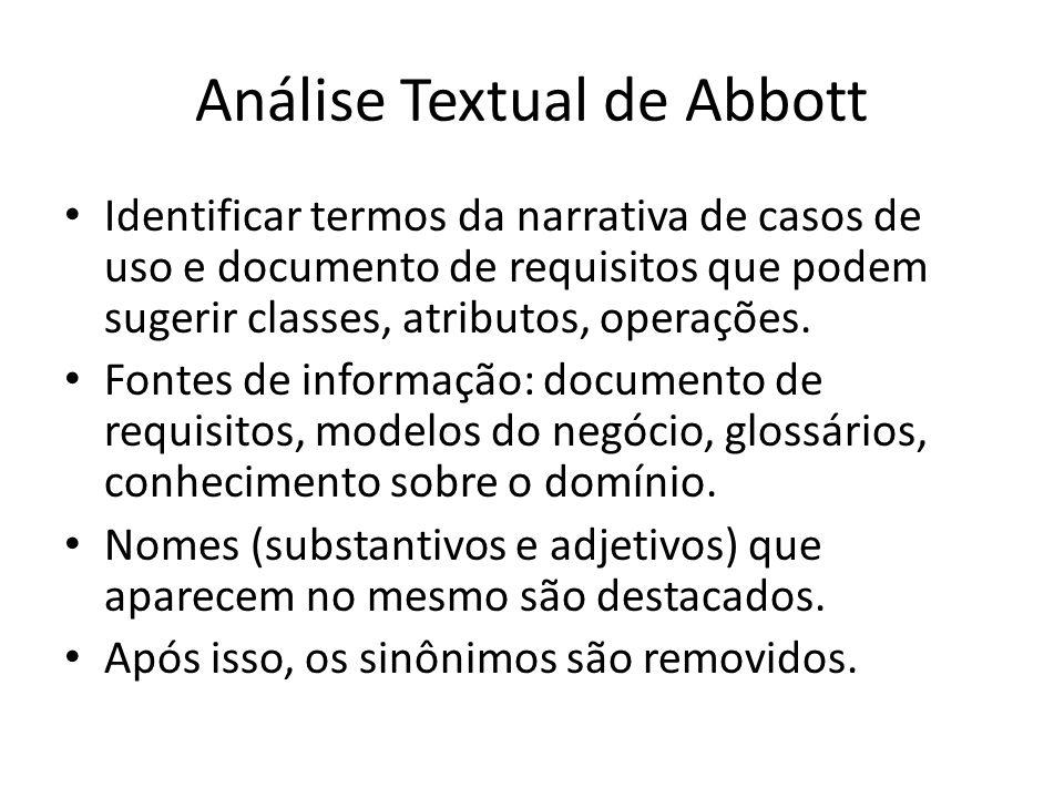 Análise Textual de Abbott Identificar termos da narrativa de casos de uso e documento de requisitos que podem sugerir classes, atributos, operações. F