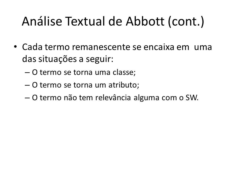 Análise Textual de Abbott (cont.) Cada termo remanescente se encaixa em uma das situações a seguir: – O termo se torna uma classe; – O termo se torna