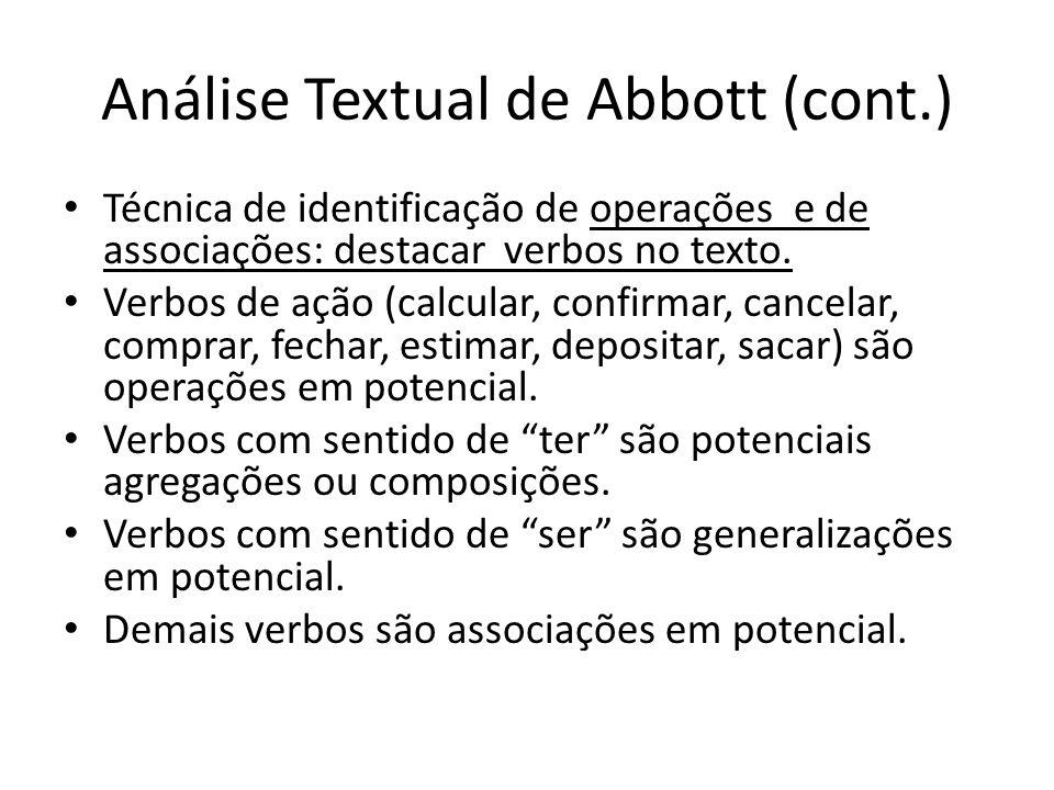 Análise Textual de Abbott (cont.) Técnica de identificação de operações e de associações: destacar verbos no texto. Verbos de ação (calcular, confirma